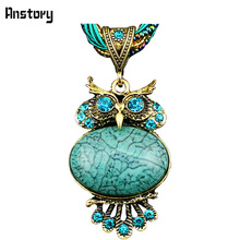 Cute Crystal Owl Pendant Necklace For Women Vintage Antique Bronze Plated Fashion Jewelry N130