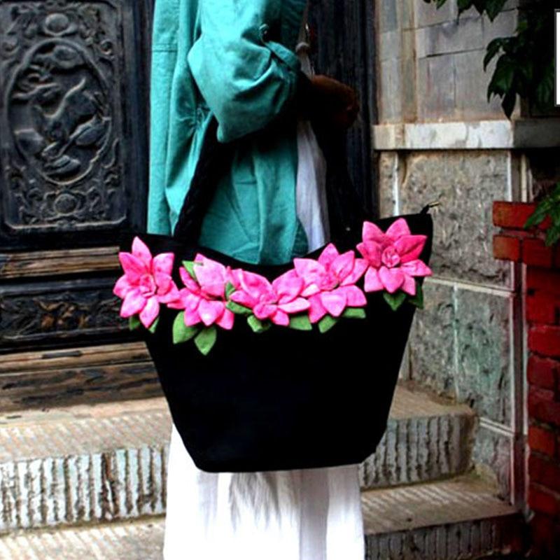 Bagaj ve Çantalar'ten Omuz Çantaları'de XIYUAN MARKA Ulusal Çin tarzı çanta Nakış Çiçekler Çanta Etnik tuval El Yapımı Tote kadın çanta Kese Dos Femm'da  Grup 1