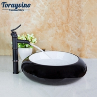 Bathroom Basin Dinks Black And White Contemporary Countertop Round Ceramic Wash Artistic Basin With Oil Rubbed Bronze Faucet Set