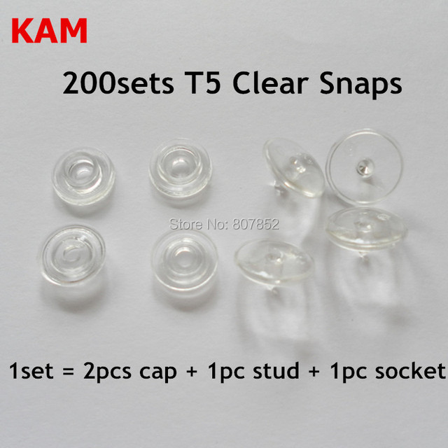 US $12 85 10% OFF|200 sets Glossy Transparent Clear T5 size 20 Kam Snaps  Buttons Plastic Resin Fasteners for Baby Diaper-in Beads from Jewelry &