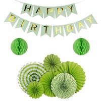 New Arrival 9pcs Set DIY Green Series Multi Size Paper Fan Summer Theme Party Decoration Birthday
