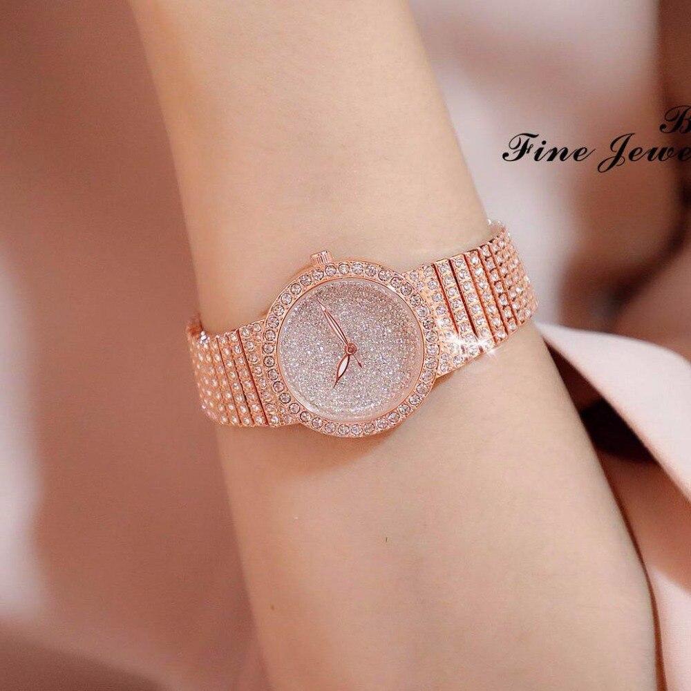 New Brand Ladies Luxury Rose Gold Quartz Wrist Watches BS Fashion Geneva Women's Bling Full Rhinestone Bracelet Jewelry Watch