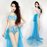 Jazz Dance Costumes Blue Bikini Singer Stage Outfits Women Sequin Clothing Nightclub Dj Ds Show Female Performance Wear DN2541