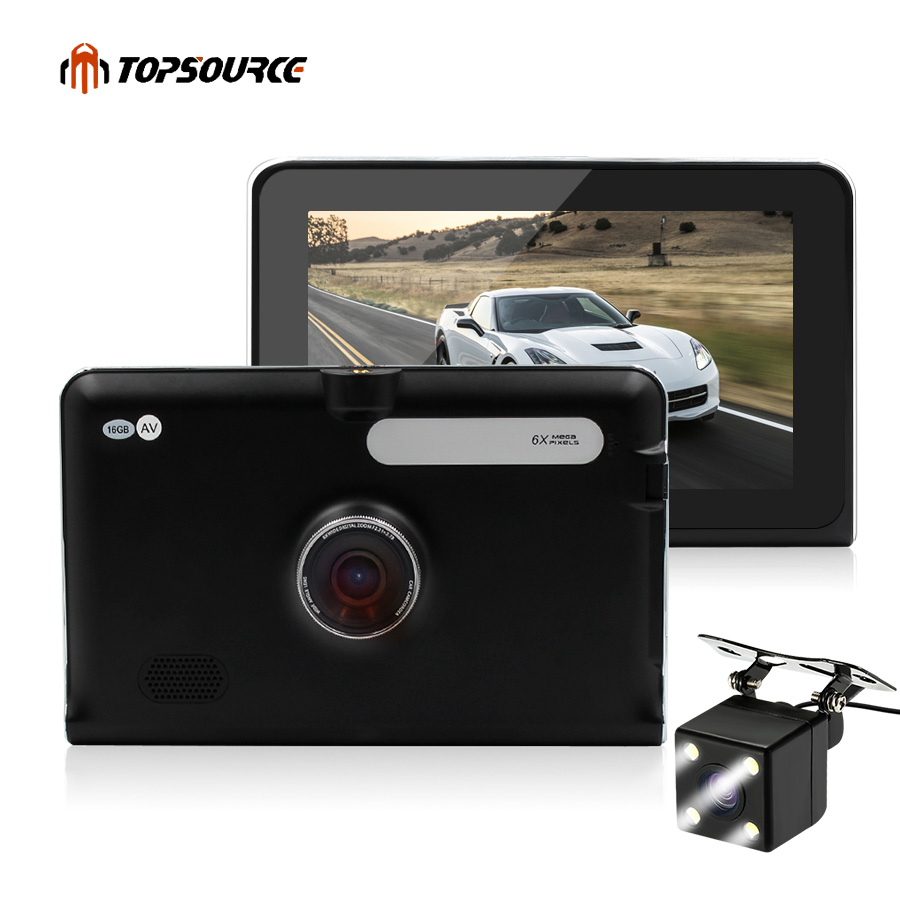 TOPSOURCE 7'' Car DVR CAR GPS Navigation Recorder 16GB/512MB Android WIFI Capacitive Screen Navigator automobile Russia/USA Map topsource 7 spian android car gps navigation europe usa uk truck gps navigator wifi 512m 16gb russian gps map for navitel