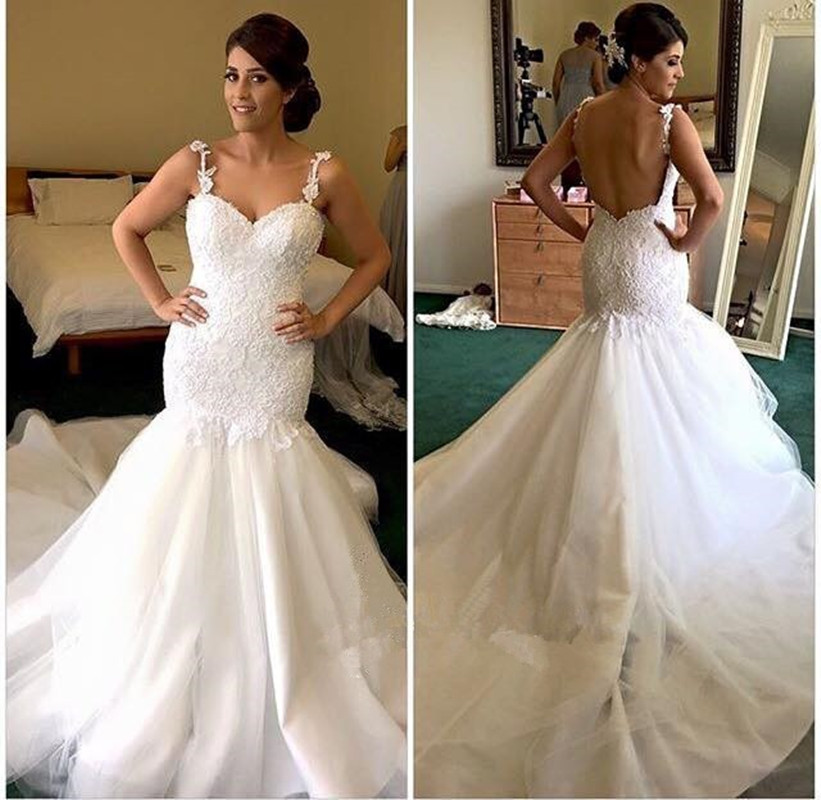 Danielle Caprese Wedding Gowns: Exquist White Spaghetti Strap Low Back Sweetheart Mermaid
