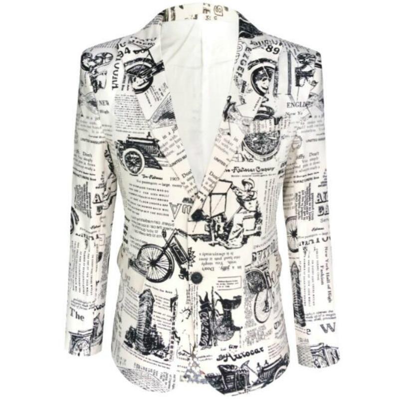 Men New Retro Vintage Newspaper Print Casual Blazer Hombre Men DJ Singer Night Club Slim Fit Suit Jacket Prom Party Costume