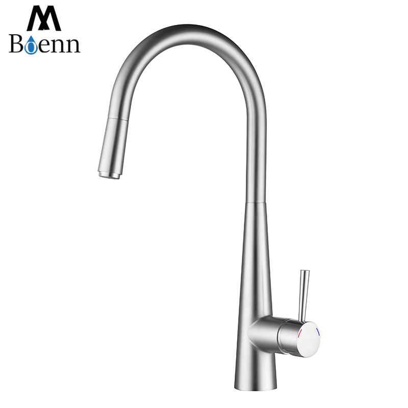 Brass Pull Out Kitchen Faucet Bathroom Mixer Sink Faucet Hot Cold Valve Water Taps Faucets Brushed