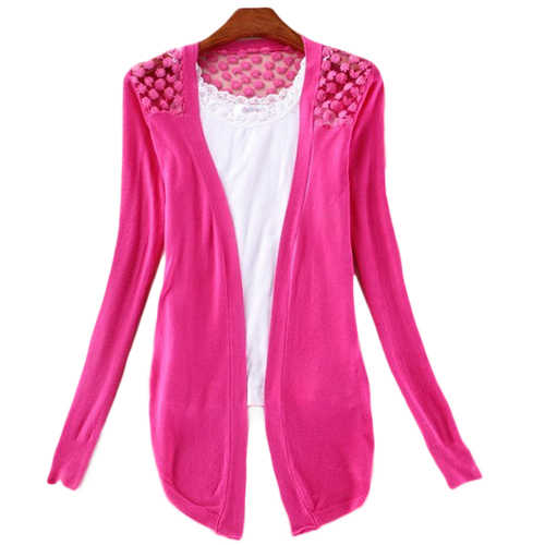 Lady Koreanische Art Süßigkeit-farbe Häkelarbeitknit Top Mantel Pullover Strickjacke Sommer Häkeln Bluse Einzelhandel/Großhandel 6DQC