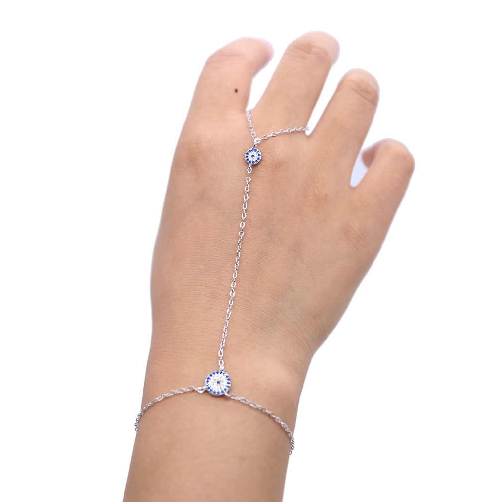 2017 bạc vàng hồng chuỗi màu dài nữ ladies thiết kế mới evil eye charm thời trang trang sức hand lắc tay vòng tay nhẫn