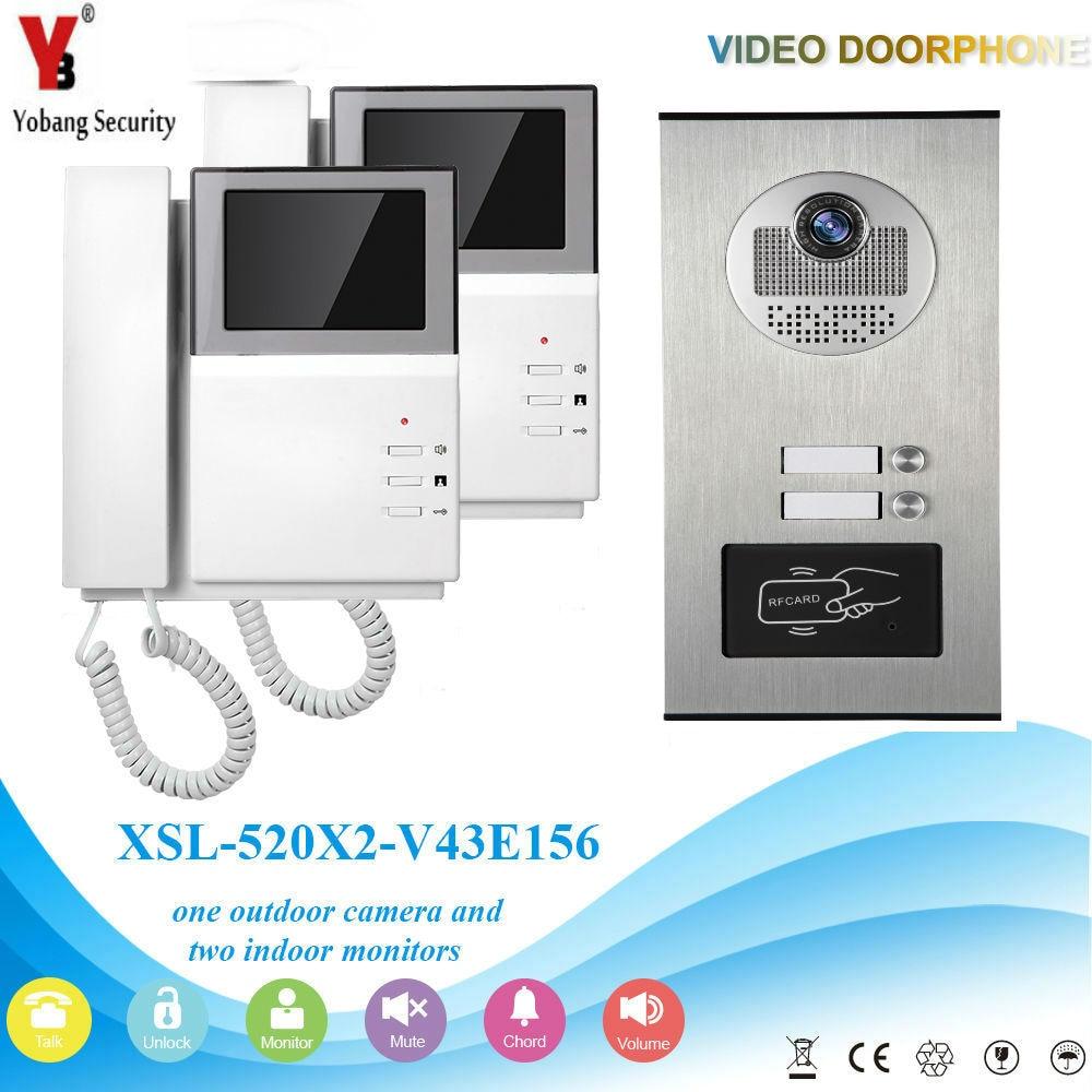 YobangSecurity Video Door Intercom 4.3 Inch Video Door Phone Doorbell Camera System RFID Access Door Camera For 2 Unit Apartment