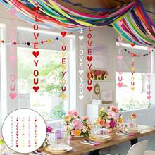 I Love You Heart Bunting Banner Hanging Ornament Party Propose Background Decor(China)