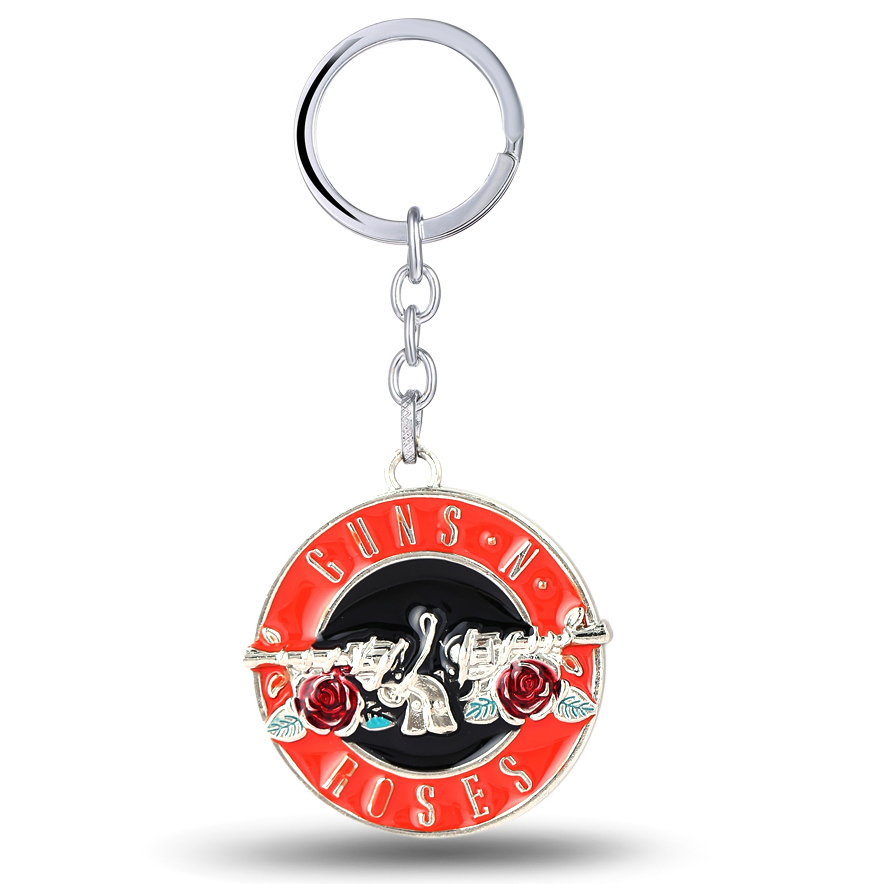 MS Jewelry GnR Key Chain Music Band Guns N Roses Key Rings For Gift Chaveiro Car Keychain Game Key Holder Souvenir