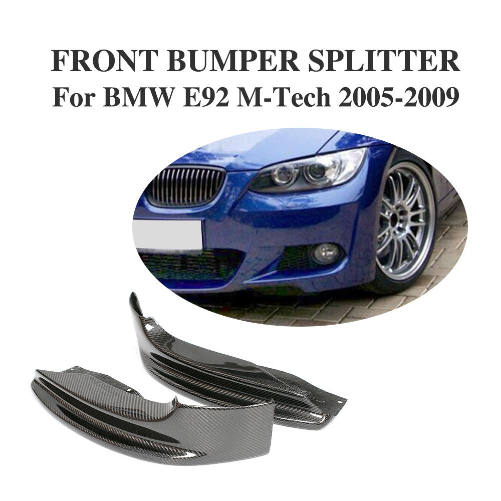 Carbon Fiber Front Bumper Lip Splitters Aprons For BMW 3 Series E92 335i M-Tech M Sprot Bumper 2005-2009 2PCS/SetCarbon Fiber Front Bumper Lip Splitters Aprons For BMW 3 Series E92 335i M-Tech M Sprot Bumper 2005-2009 2PCS/Set