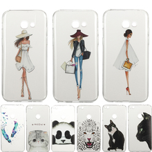 Soft silicone TPU case for samsung GALAXY A5 2017 A520 phone cover Girl cat fundas for coque SAMSUNG A5 2017 back cover Capa bag