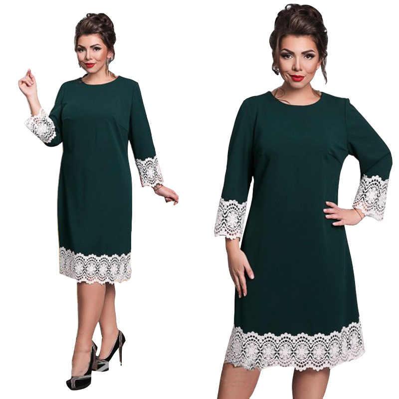 13976e3cdb1 QMGOOD Европа большой размер одежда кружева лоскутное платье для женщин  сплошной цвет круглый вырез Лето Жир