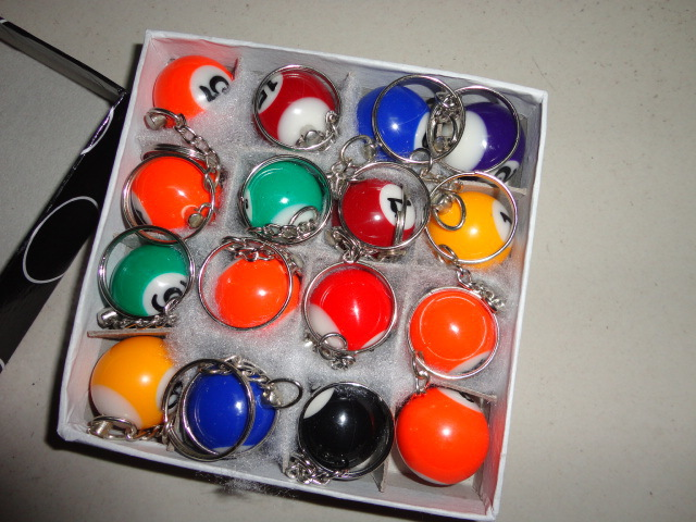 Free shipping Wholesale ! 1440pcs Pool Billiard snooker table ball keychain keyring party Favor Gifts