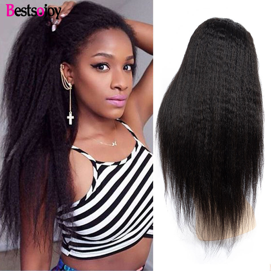 Bestsojoy Hair Kinky Straight Wig Lace Front Human Hair Wigs  Brazilian Lace Frontal Wig 150 180 250 Density Human Hair Wig-in Human Hair Lace Wigs from Hair Extensions & Wigs    1