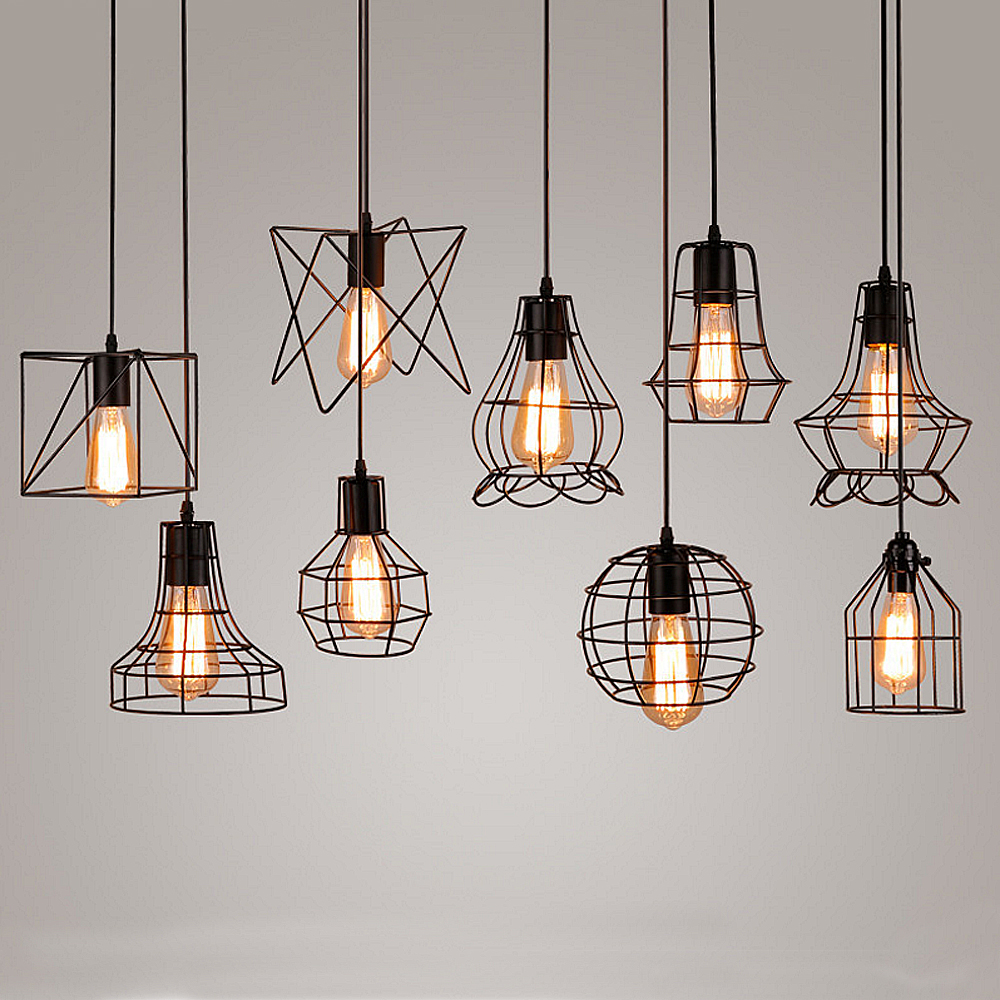 Vintage Iron Pendant Light Industrial Loft Retro Droplight Bar Cafe Bedroom Restaurant American Country Style Hanging Lamp vintage iron pendant light loft industrial lighting glass guard design cage pendant lamp hanging lights e27 bar cafe restaurant