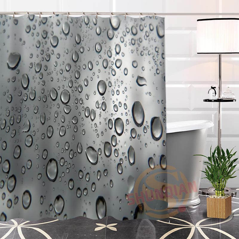 Best Nice Custom Raindrops Shower Curtain Bath Waterproof Fabric For Bathroom MORE SIZE WJY80