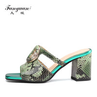 Fanyuan Fashion Genuine Leather Crystal buckle Slippers Summer Outside shoes Comfort Snakeskin pattern High heels Women Slides