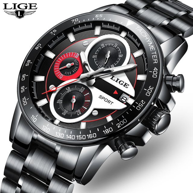 LIGE Watches Men Luxury Brand Leather Full Steel Waterproof Sport Quartz Wristwatch Man Fashion Business Watch relogio masculino relogio masculino lige men watches top brand luxury fashion business quartz watch men sport full steel waterproof wristwatch man
