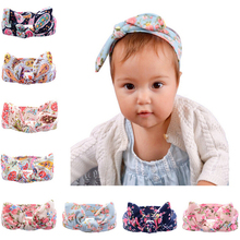 Girls Headbands Floral Hairband Bow Headband Kids Girl Bunny Ear Hair Bands For Girls Headwear Head Wrap Baby Hair Accessories stylish bow embellished tiny floral pattern light blue headband for girls