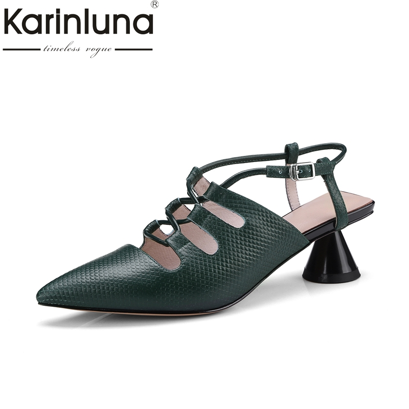 KARINLUNA genuine leather Size 34-39 buckle strap Women Shoes Woman Sexy black white strange Heels Party Wedding Sandals Lady