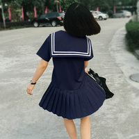 Harajuku Japanese Mori Girl Summer Pleated Sweet Dress Women Navy Preppy Style Uniforms Sailor Collar Cute Casual Mini Dresses