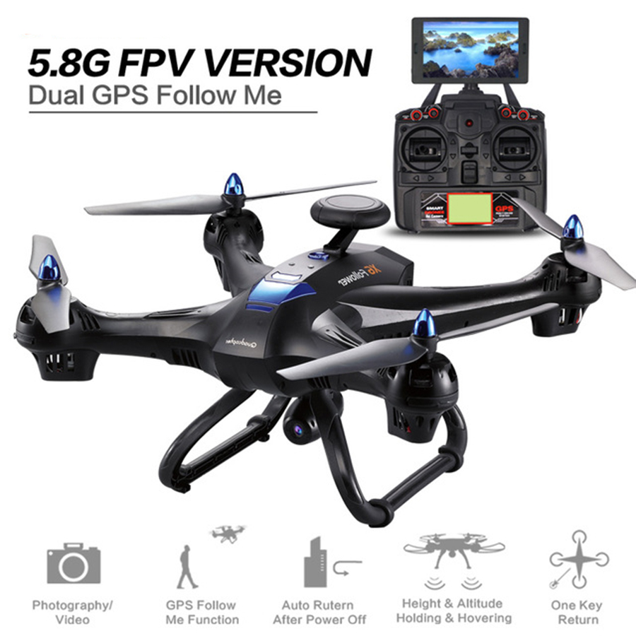 XINLIN X183 Quadcopter Dual GPS Drone 5.8G Display Screen FPV 2MP WiFi Camera RC Helicopter Or Single din GPS Dron Quadrocopter