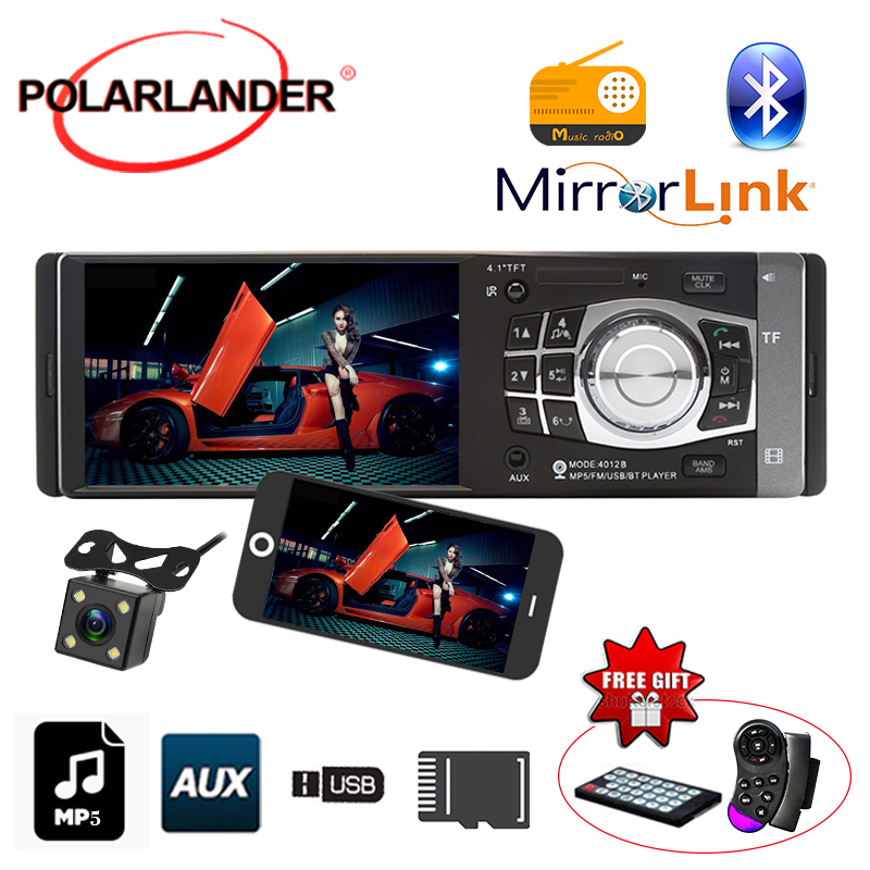 4 Inch 1 DIN TFT AUXIN car radio MP5 MP4 Player Bluetooth 12V Car Audio For Rear Camera Mirror Link Only For Android Stereo image