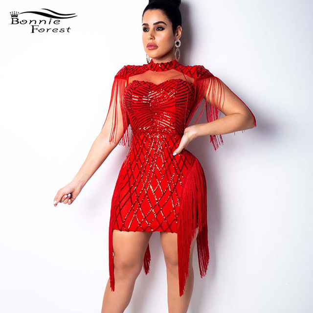 c68031ae1c25 Bonnie Forest Glitter Tassel FRINGES Sequins Mini Dress Sexy Cut Out Bodycon  Celebrity Party Dress New