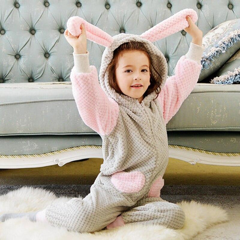 Rabbit Ears Pajamas Children Onesie Sweet Pink Cosplay Anime Animal Girls Bathrobe Kids Blanket Sleeper Winter Fleece Flannel