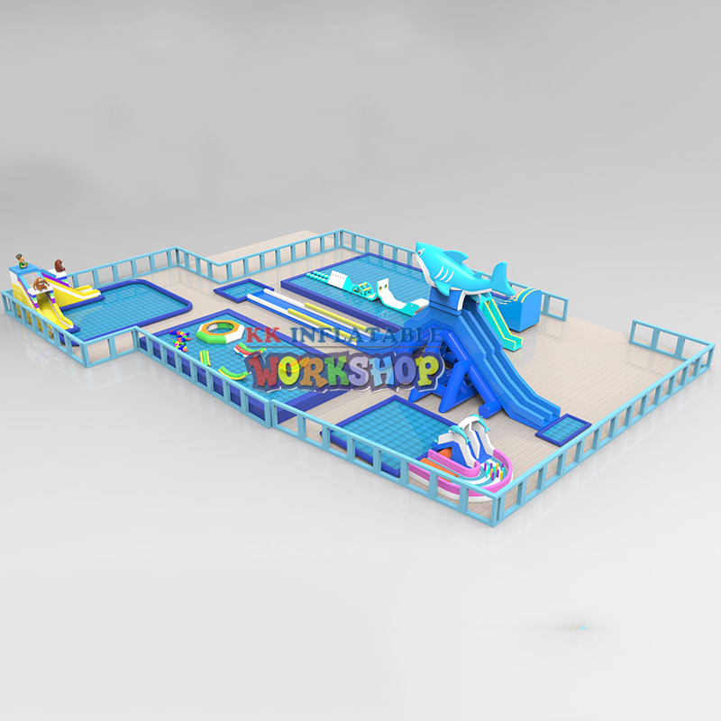 Inflatable Big Shark Slide Water Toy Combined Land Water Park
