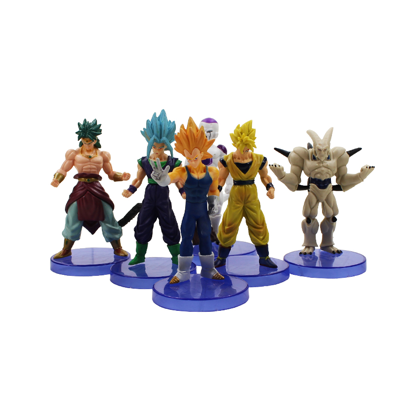 6pcs/set Dragon Ball DBZ Anime Goku Vegeta Piccolo vegetto Freeza Broly dragon ball z action figures Toy dragonball