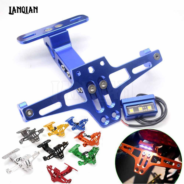Motorcycle Registration License Plate Bracket Holder with light for plate For Yamaha yzf fz6 xj6 fazer FZ1 FZS 600  R3 R25 R1