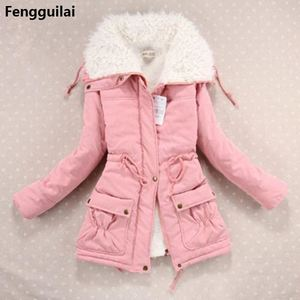 Image 2 - New  Winter Coat Women Slim Plus Size Outwear Medium  Long Wadded Jacket Thick Hooded Cotton Wadded Warm Cotton Parkas