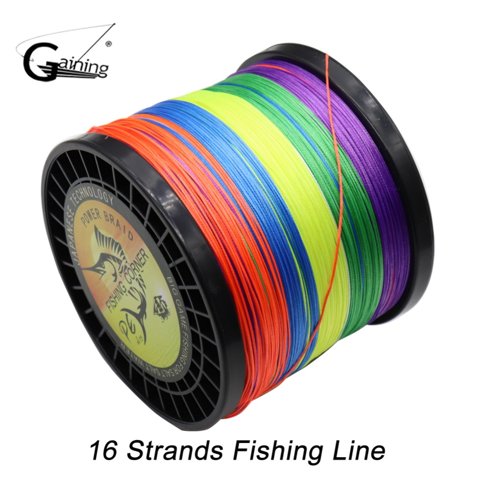 Gaining Super Strong 16 Strands Weaves Braided Fishing Line1000M Rope Multifilament Fishing Line 59LB 110LB 136LB