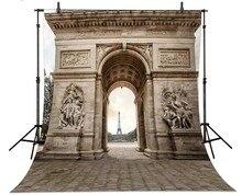 Arco do triunfo Torre Eiffel Em Paris França Fundos Vinil pano de Computador impresso backdrops casamento de Alta qualidade