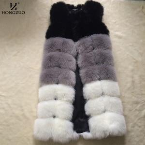 2018 Winter New Thick Warm Women Fur Vest Gradual Color Faux Fur Vest Long Coat 100cm luxury women's jacket gilet veste PC251