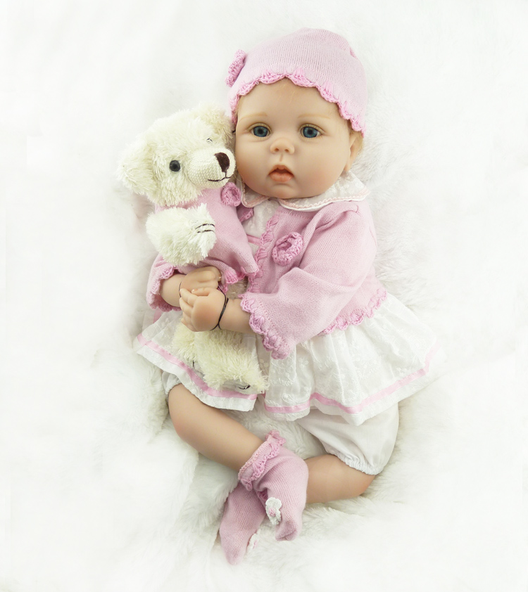 Nicery 20inch 50cm baby reborn doll soft silicone child girl toy reborn baby doll gift for children white pink dress coat ins hot swan soft toy cute ballerina moon cushion pink home sofa decoration pillow baby appease music doll kidstoy gift for girl