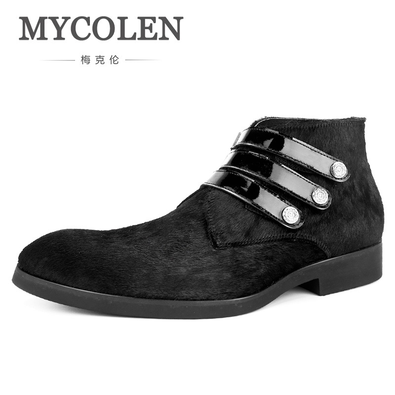 MYCOLEN New Fashion Mens Casual Ankle Boots Warm Fur Elastic Band Winter Shoes High Quality Sewing Shoes Botas Masculina 2017 new lightweight breathable suede mens casual shoes adult keep warm with fur
