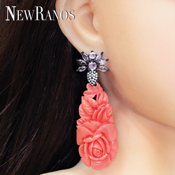 Newranos Crystal Drop Earrings Flower Carving Dangle Earrings Pave Cubic Zirconias Bohemia Jewelry for Women Jewelry EFX006964