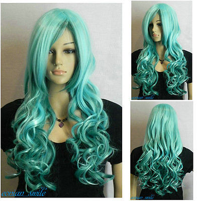 Hot Heat Resistant Party Hair Fashion Light Cyan Dark Mix Long