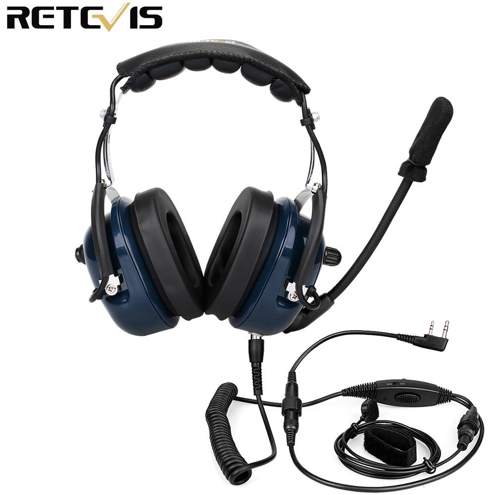 EH050K Noise Reduction Aviation MIC Headset VOX Volume Adjustment Speaker with Finger PTT for Kenwood Baofeng UV-5R Retevis H777