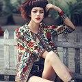 Spring 2016 new European and American national wind embroidery short sleeve jacket Slim female coat jacket