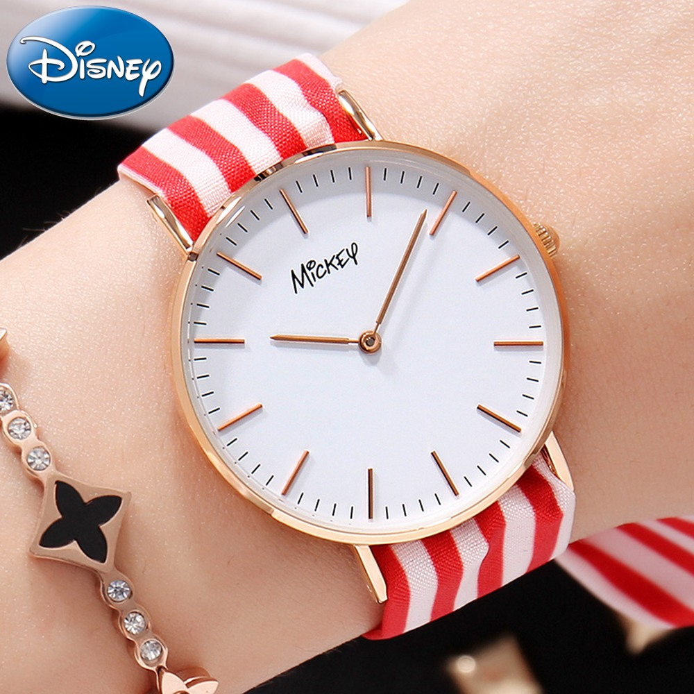 Disney Watch With Two Ribbon Watchband Free Match Colorful For All Seasons Girl Ultrathin Round Waterproof