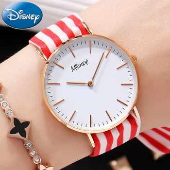 Disney Watch With Two Ribbon Watchband Free Match Colorful For All Seasons Girl Ultrathin Round Waterproof Mickey Quartz Watches - DISCOUNT ITEM  35% OFF Watches