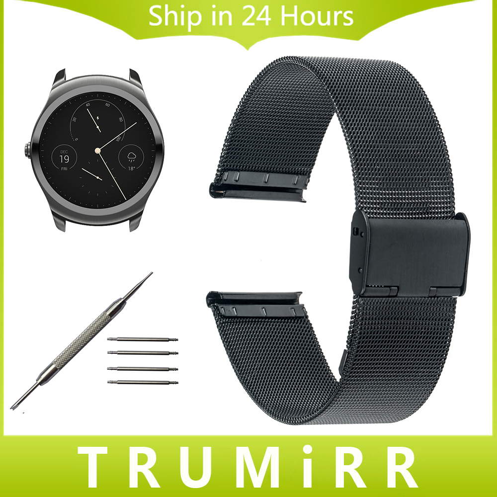 цены  20mm 22mm Milanese Watchband for Ticwatch 1 46mm / Ticwatch 2 42mm Watch Band Stainless Steel Strap Wrist Belt Bracelet Black