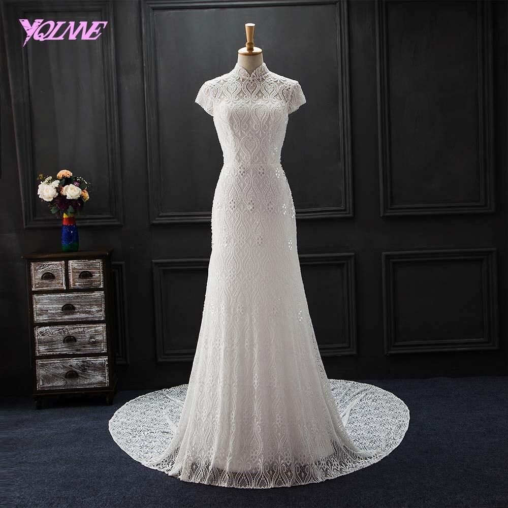 YQLNNE 2018 Винтаж кружева свадебное платье Высокий воротник жемчуг Бисер молния свадебное платье