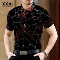 Summer Man Short Sleeve Shirts Fashion Turn Down Collar Silk Embroidery Velvet Male Shirt Slim Fit Hollow Out Blusas Masculina